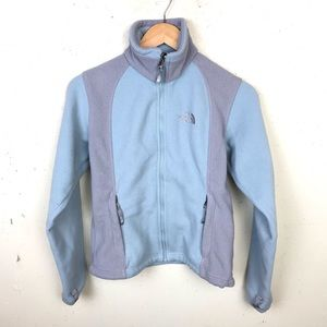 North Face Blue Gray Full ZIP Fleece Jacket XS